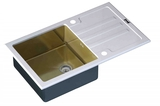 Стеклянная мойка ZorG Sanitary INOX GL-7851-WHITE-BRONZE