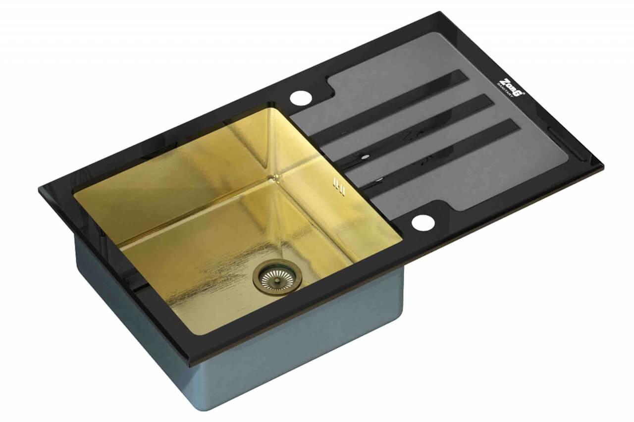 Стеклянная мойка ZorG Sanitary INOX GL-7851 BLACK-BRONZE